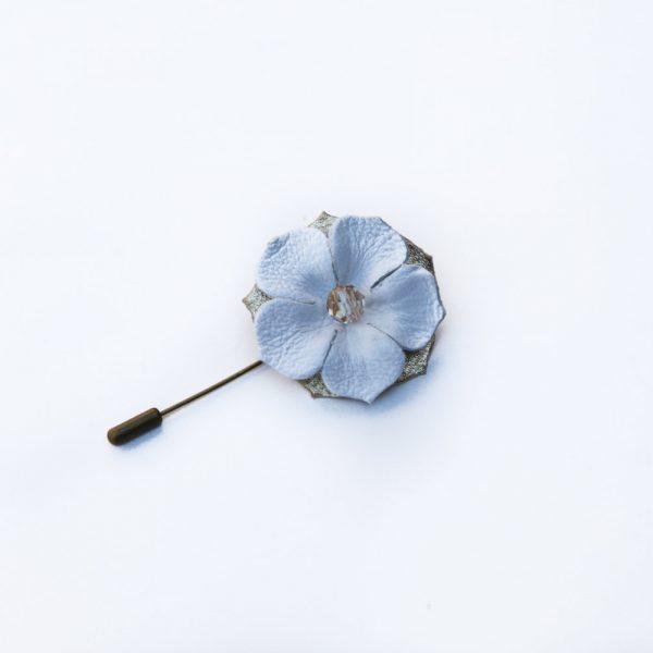 Flower lapel pin handmade leather hair accessories womens jewellery silver white flower lapel pin mightylinksfo
