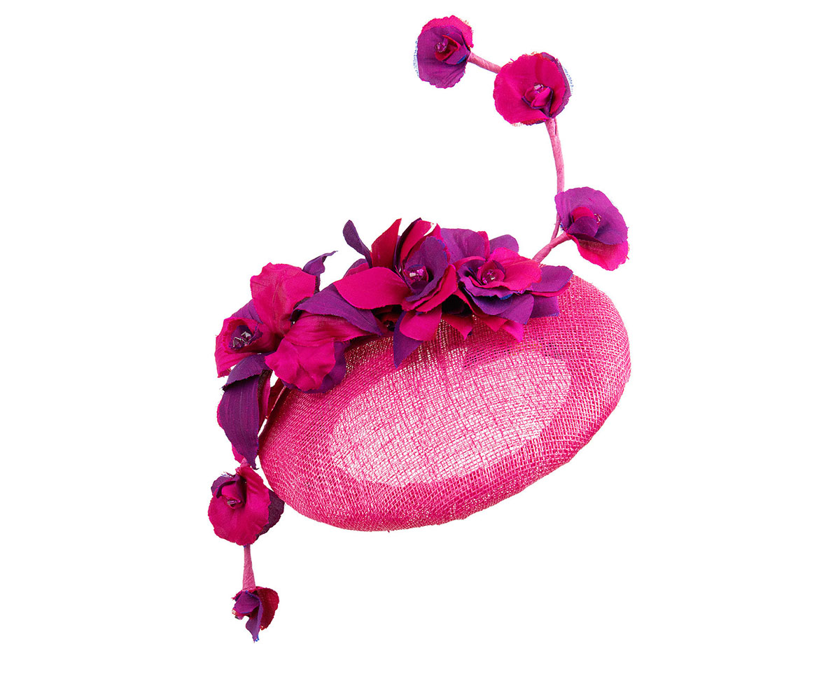 Fuchsia sinamay beret with silk fuchsia and purple flowers on a vine fuchsia sinamay beret with silk fuchsia and purple flowers mightylinksfo